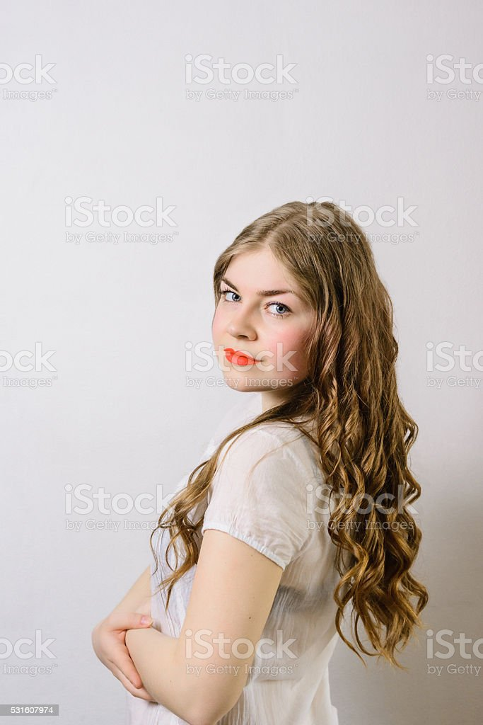 emotionless girl stock photo