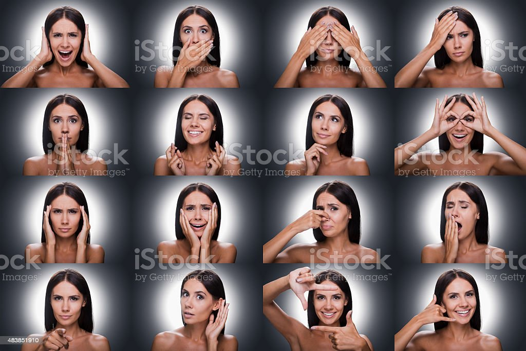 Collage of beautiful young shitless woman expressing diverse emotions...