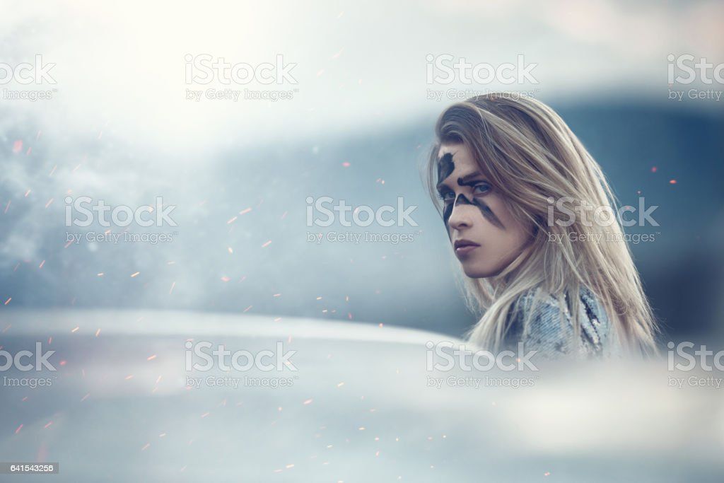 emotions of a warrior stock photo