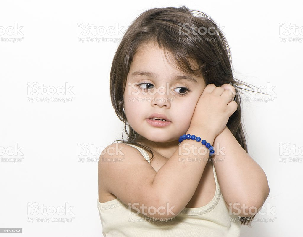 Emotions of the little girl stock photo