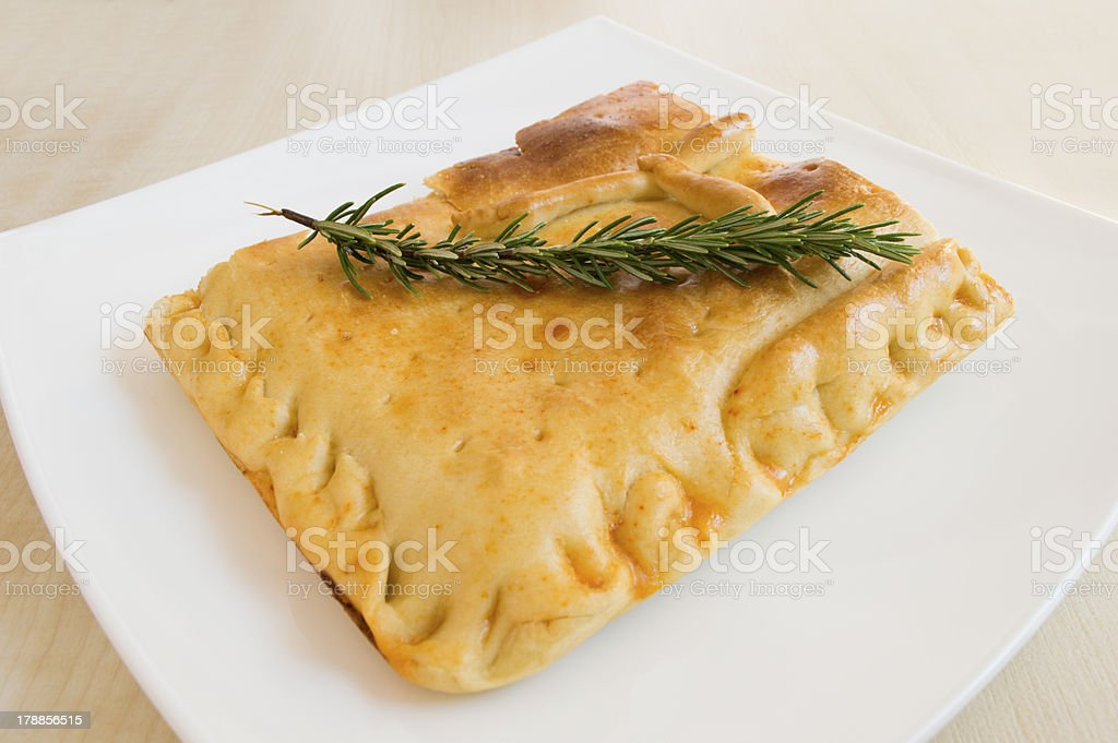 empanada gallega, a pie bread filled with some ingredients stock photo