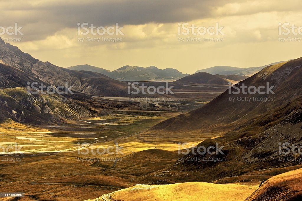 Campo Imperatore At Sunset stock photo