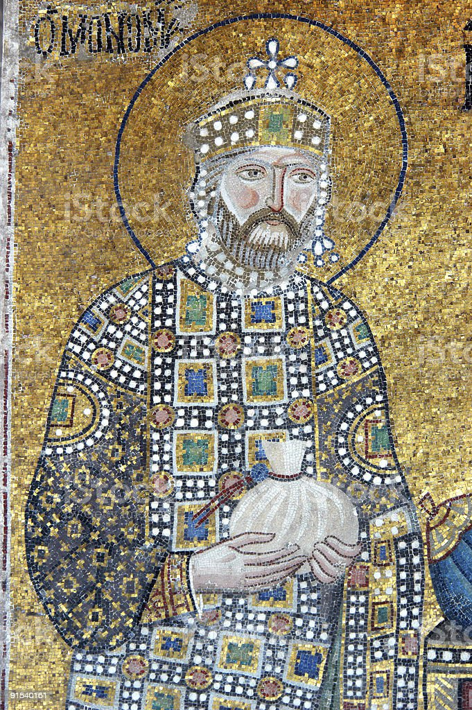 Emperor Constantine IX, Hagia Sofia, Istanbul royalty-free stock photo