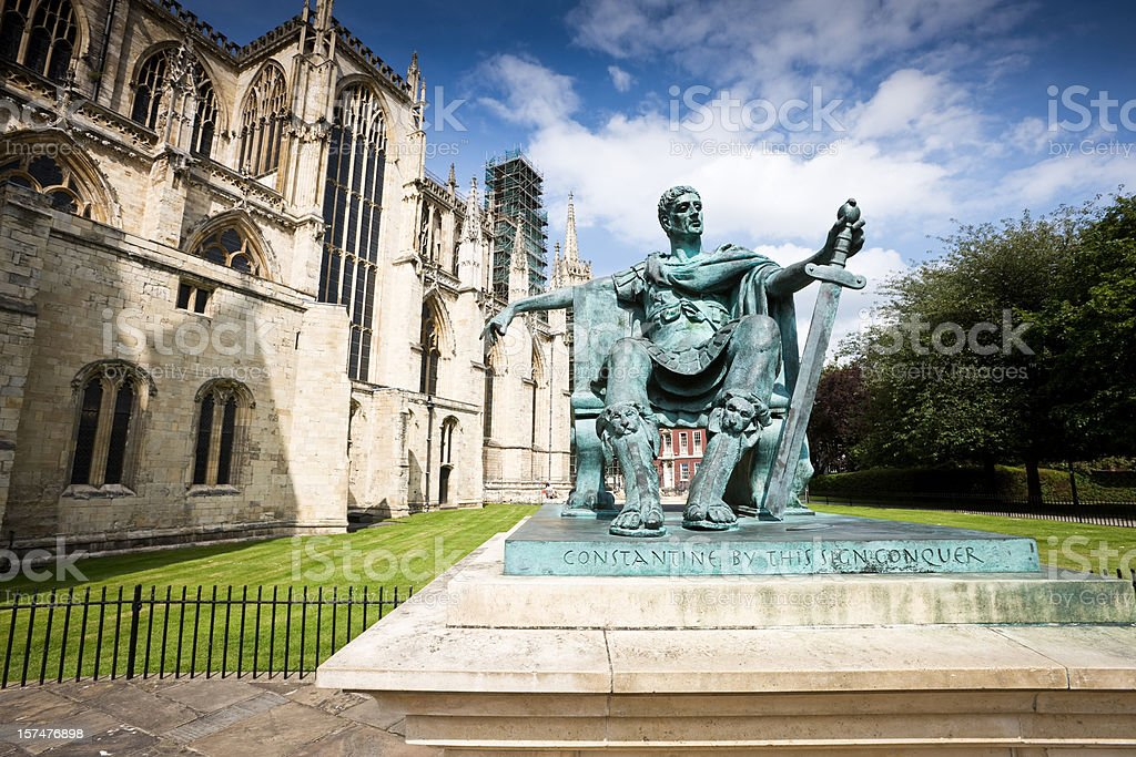 Emperor Constantine Statue in York stock photo