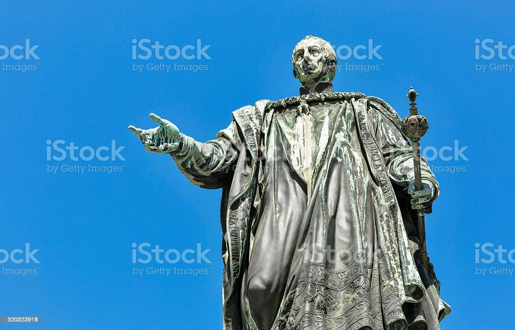 Emperor Francis II statue closeup in Graz, Austria stock photo