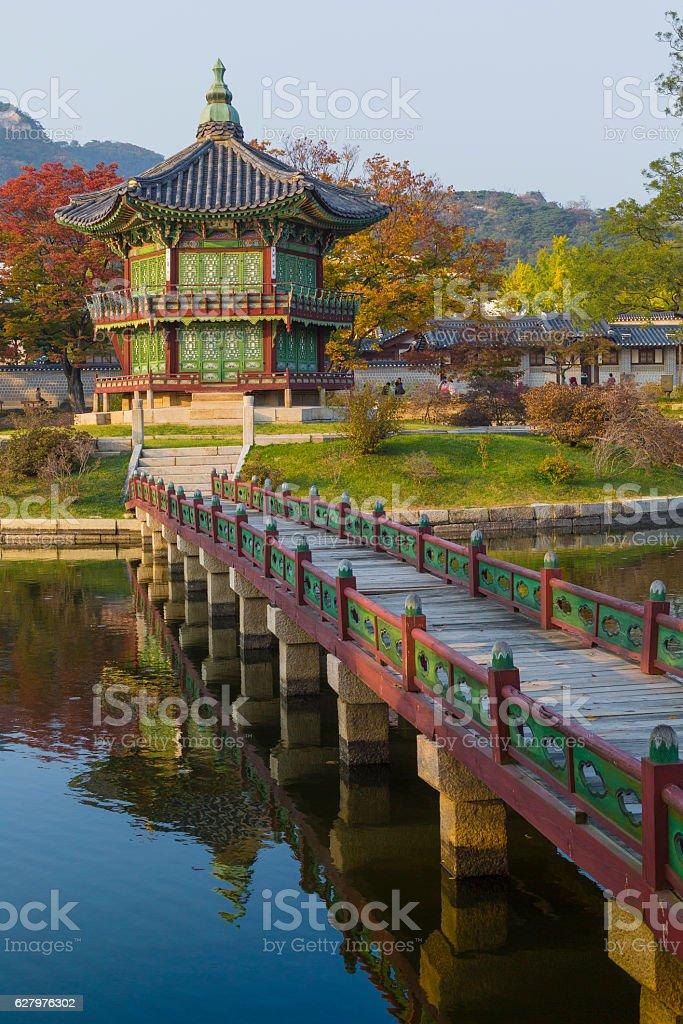 Emperor palace at Seoul. South Korea. Lake. Mountain. stock photo