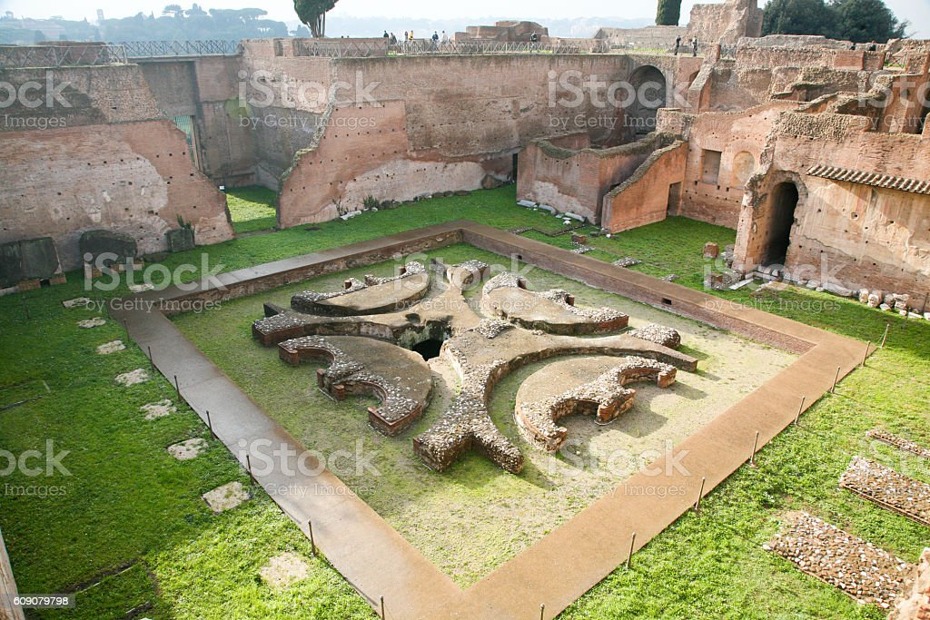 Emperor Palace or House of Augustus ruins in Rome stock photo