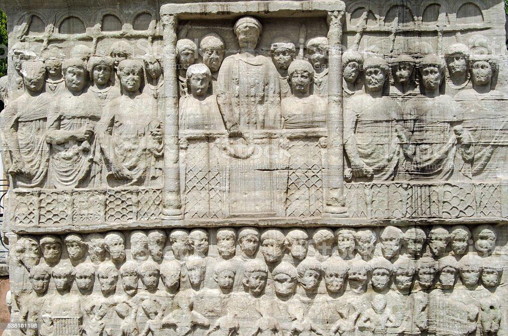 Emperor Theodosius sculpture, Istanbul stock photo
