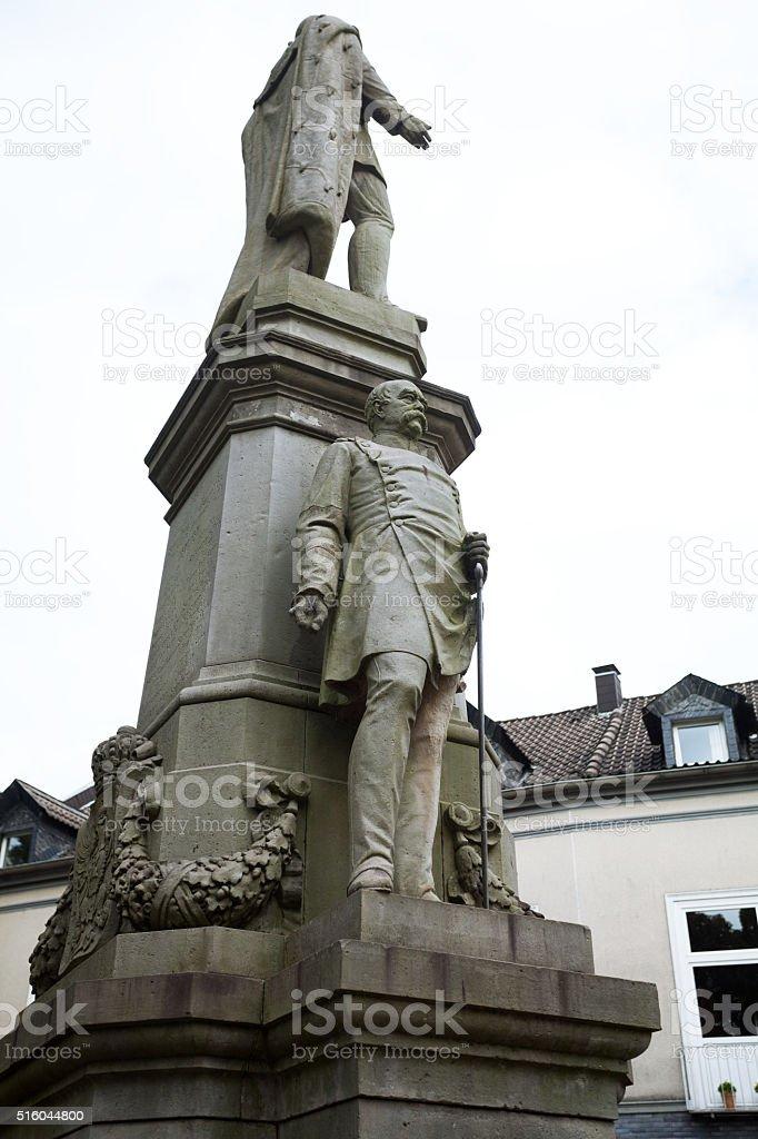 Emperor Wilhelm and Bismarck statues stock photo