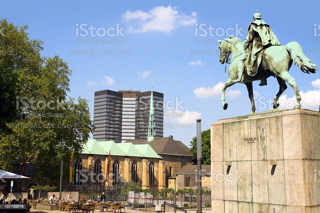 Emperor Wilhelm I and Essen City stock photo