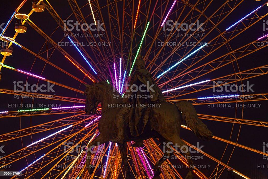 Emperor Wilhelm I in front of rainbow neon lights stock photo