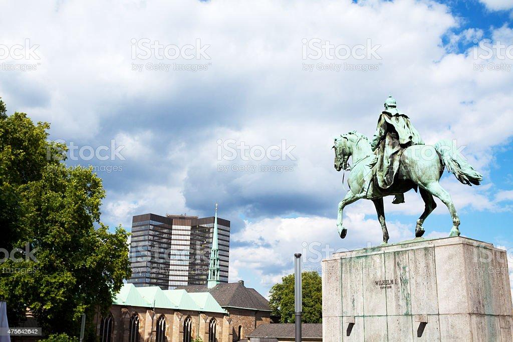 Emperor Wilhelm I statue at square Burgplatz in Essen stock photo