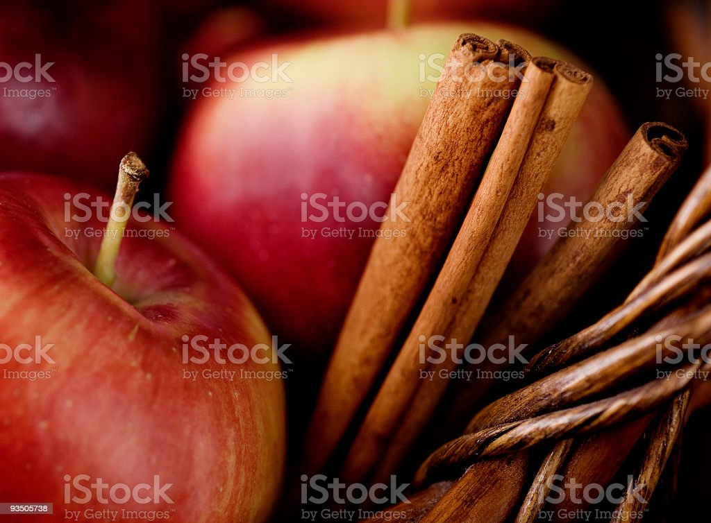 Empire Apples and Cinnamon Sticks stock photo
