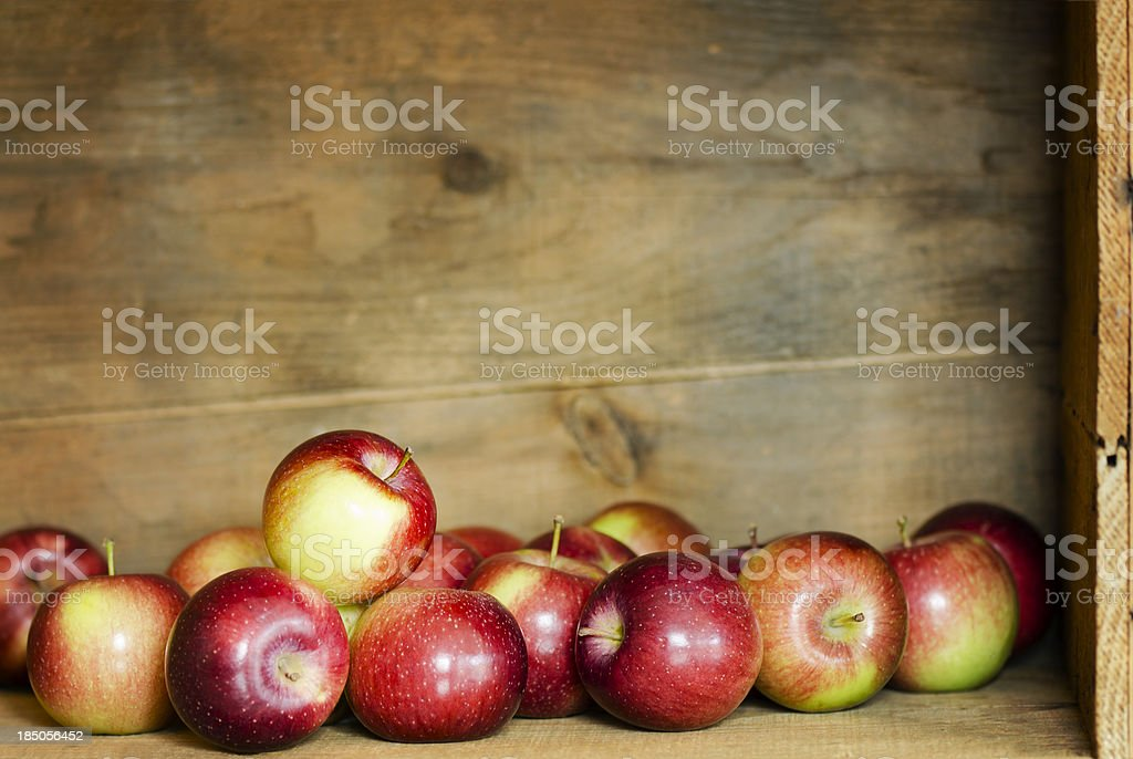 Empire Apples in a Crate with Copy Space Horizontal stock photo