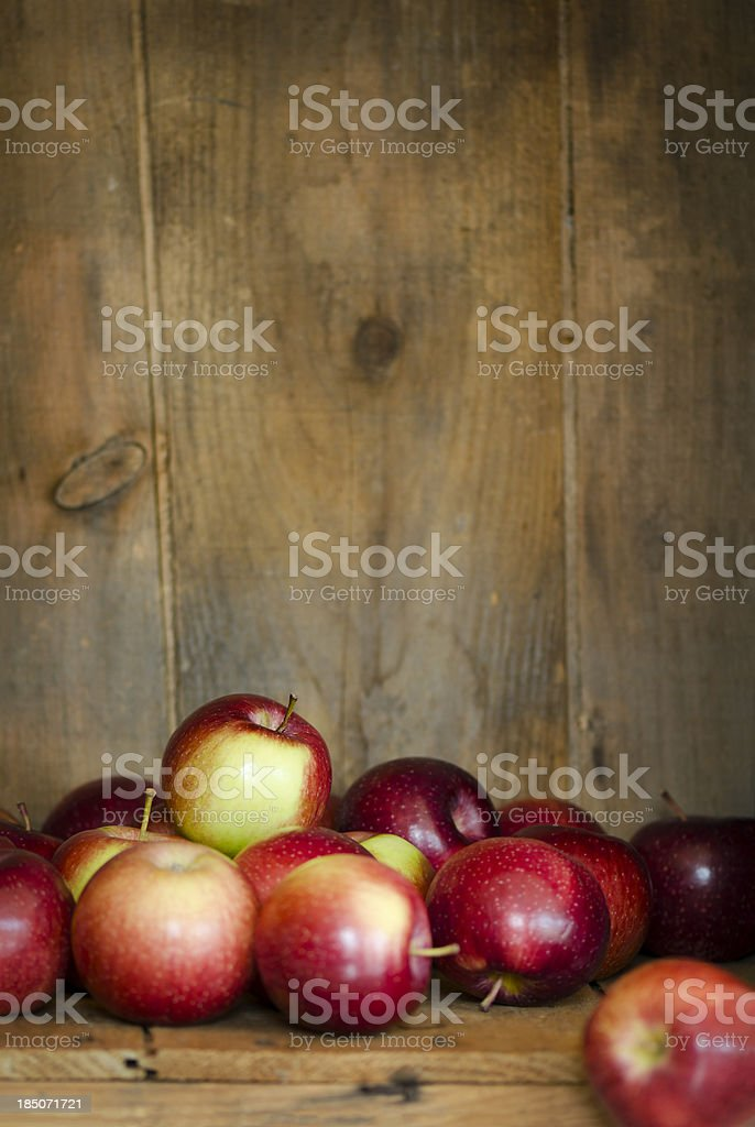 Empire Apples in a Crate with Copy Space Vertical stock photo