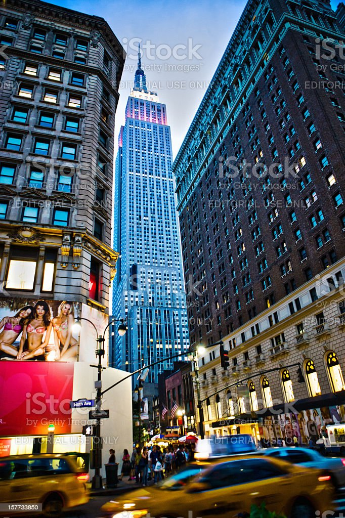 Empire State Building at night stock photo