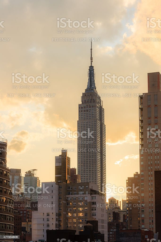Empire state building at sunset - New York City stock photo