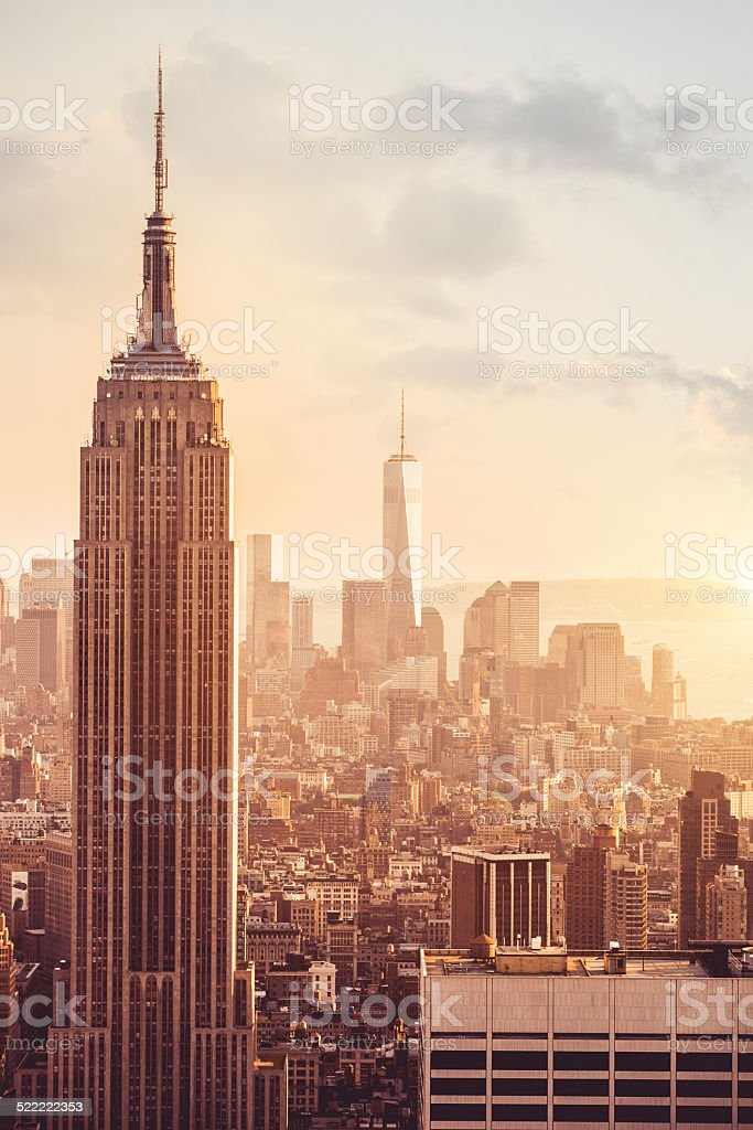 Empire State Building at sunset stock photo