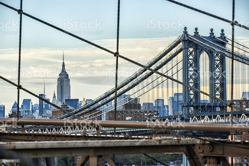 Empire State Building, Brooklyn and Manhattan bridge, New York royalty-free stock photo