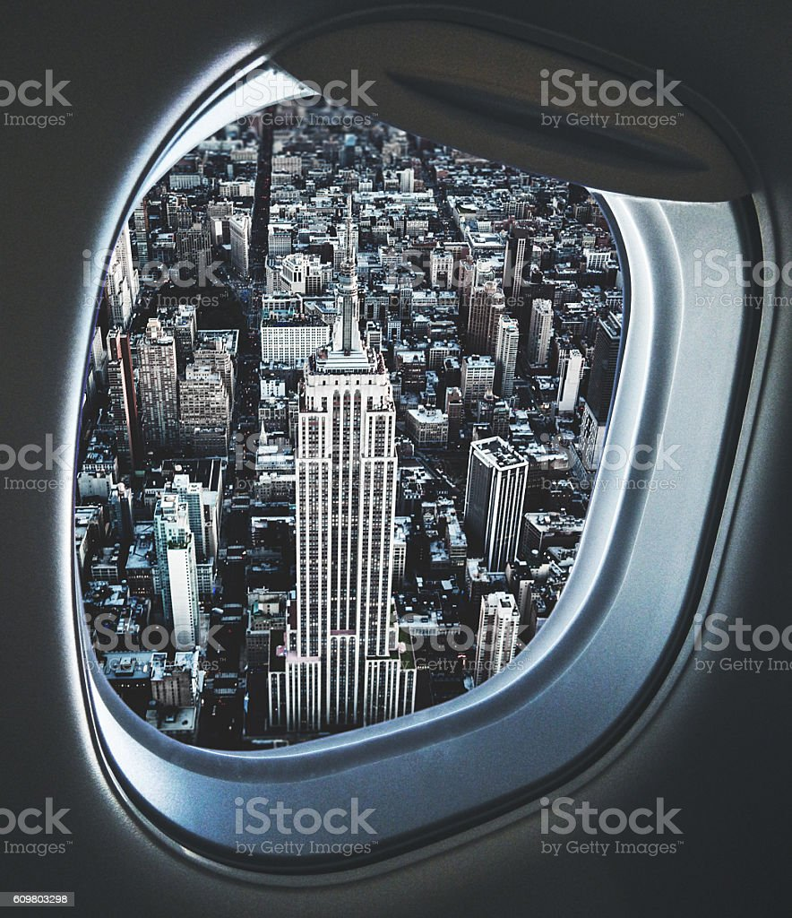 Empire state building from an aerial view from the porthole stock photo