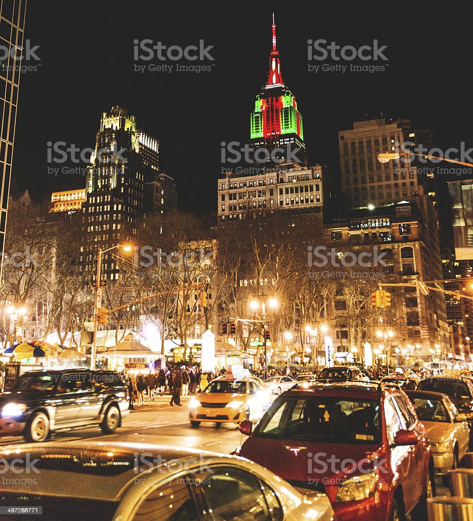 Empire state building illuminated on night royalty-free stock photo