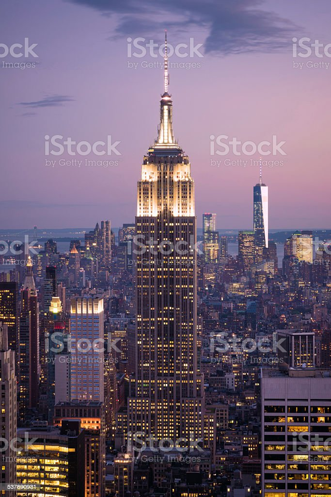 Empire State Building in Manhattan of New York City stock photo