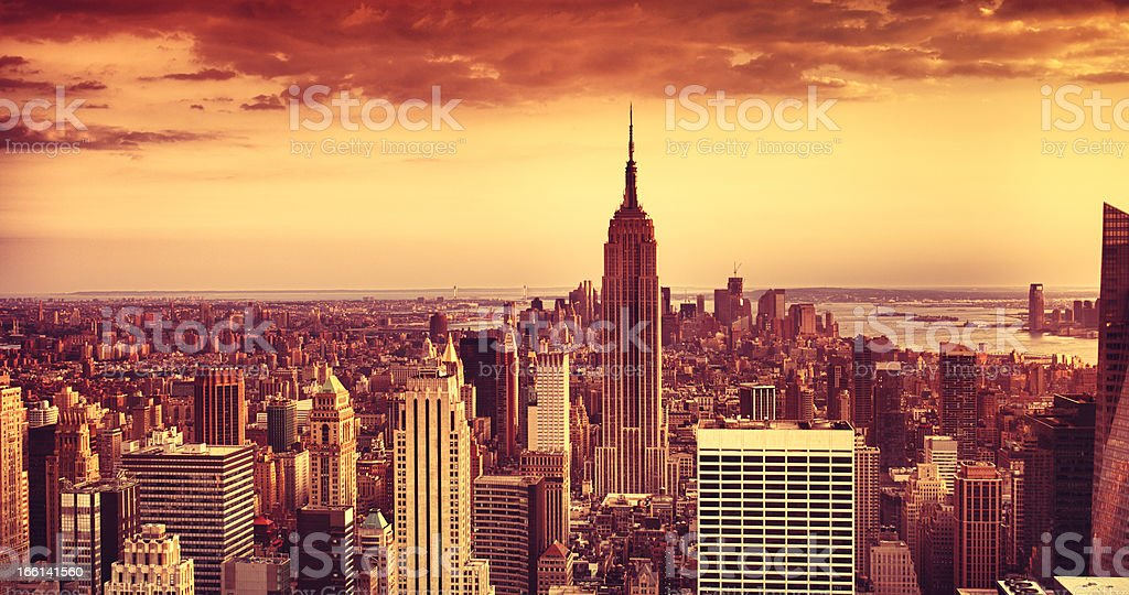 Empire State Building in Manhattan panorama royalty-free stock photo