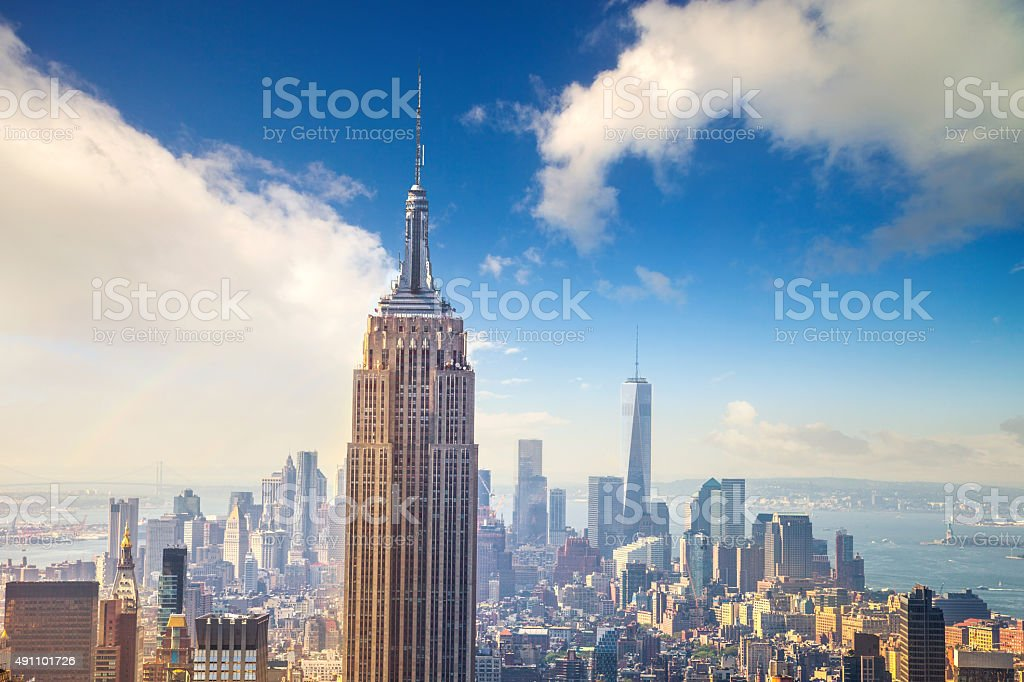 Empire State Building in New York and lower Manhattan stock photo