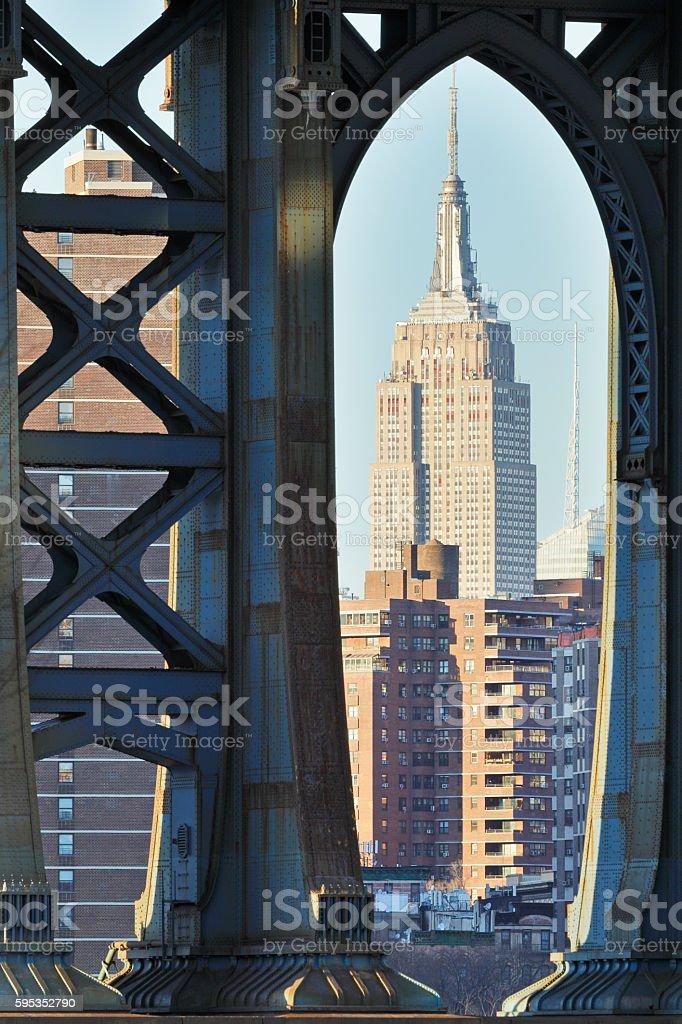 Empire State Building + Manhattan bridge stock photo