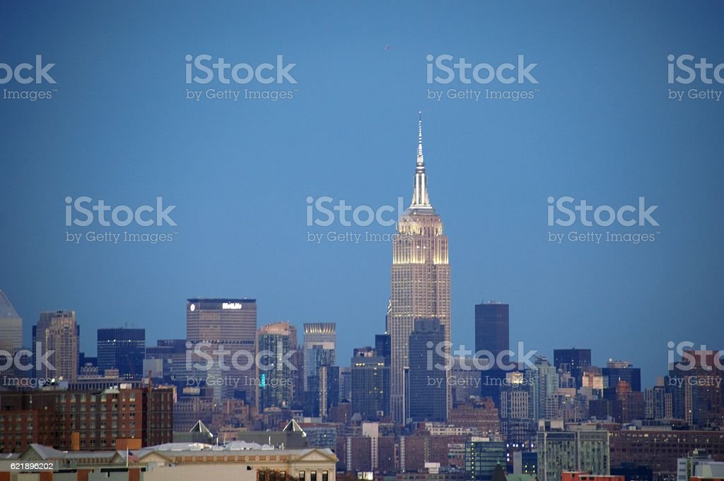 Empire State Building view from Jersey City stock photo