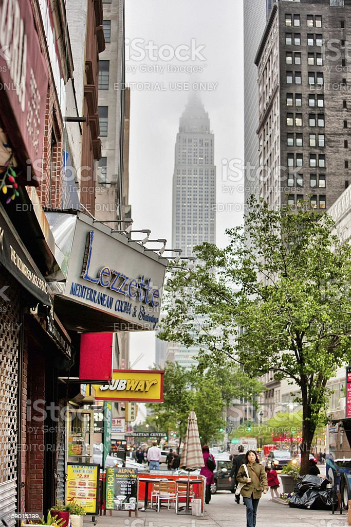 Empire State Building viewed from New York Street royalty-free stock photo