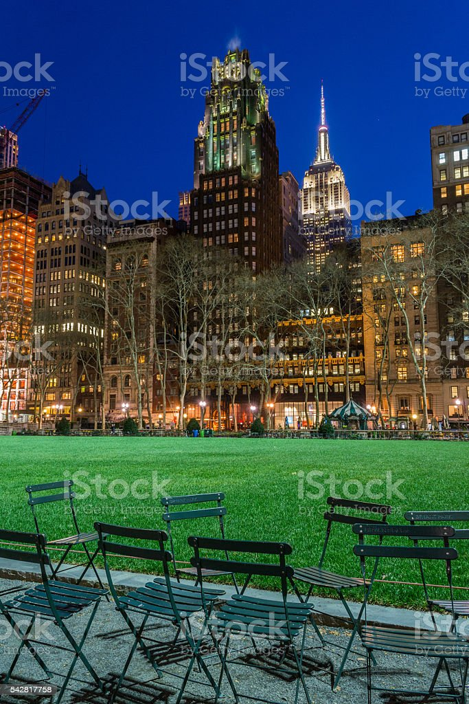Empire State bulding from Bryant park stock photo