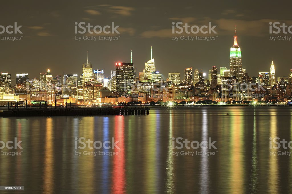 Empire State, NYC skyline at Night on Indian independence day. stock photo