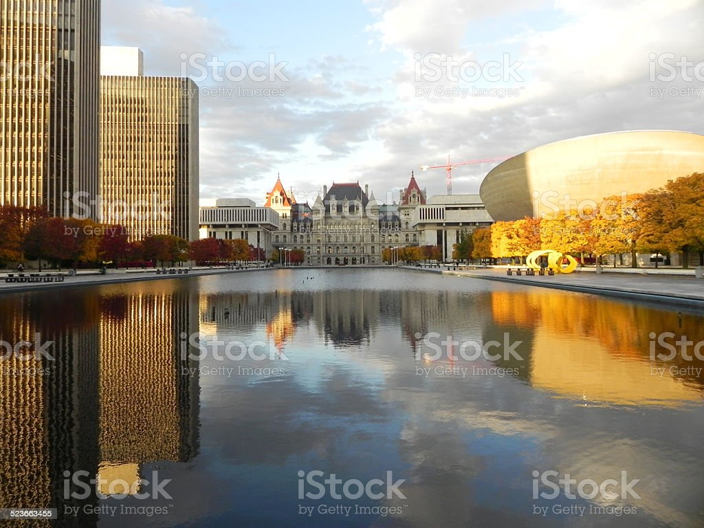Empire State Plaza, Albany New York in autumn 1 stock photo