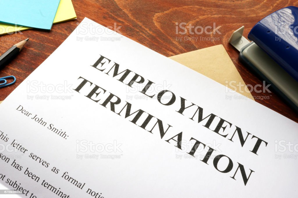 Emploinment termination letter. Unfair dismissal concept. stock photo