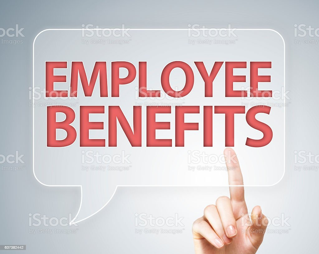 Employe Benefits / Touch screen concept (Click for more) stock photo