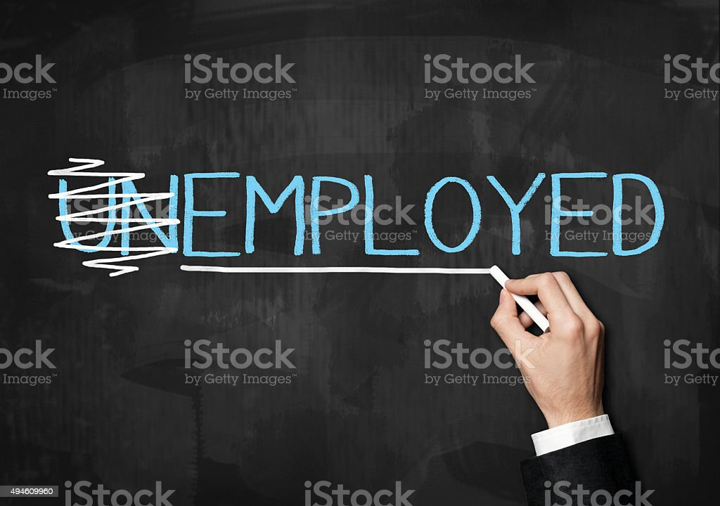 Employed or UNemployed / Blackboard concept (Click for more) stock photo