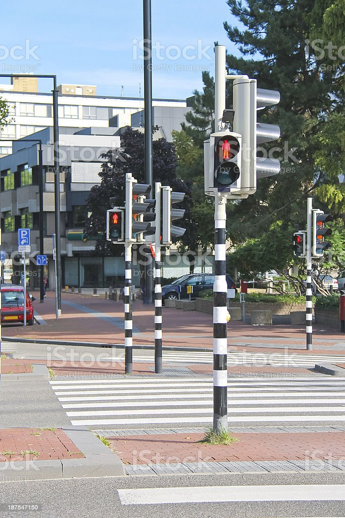Employed traffic lights at the   crossroads  in Dordrecht, Nethe stock photo