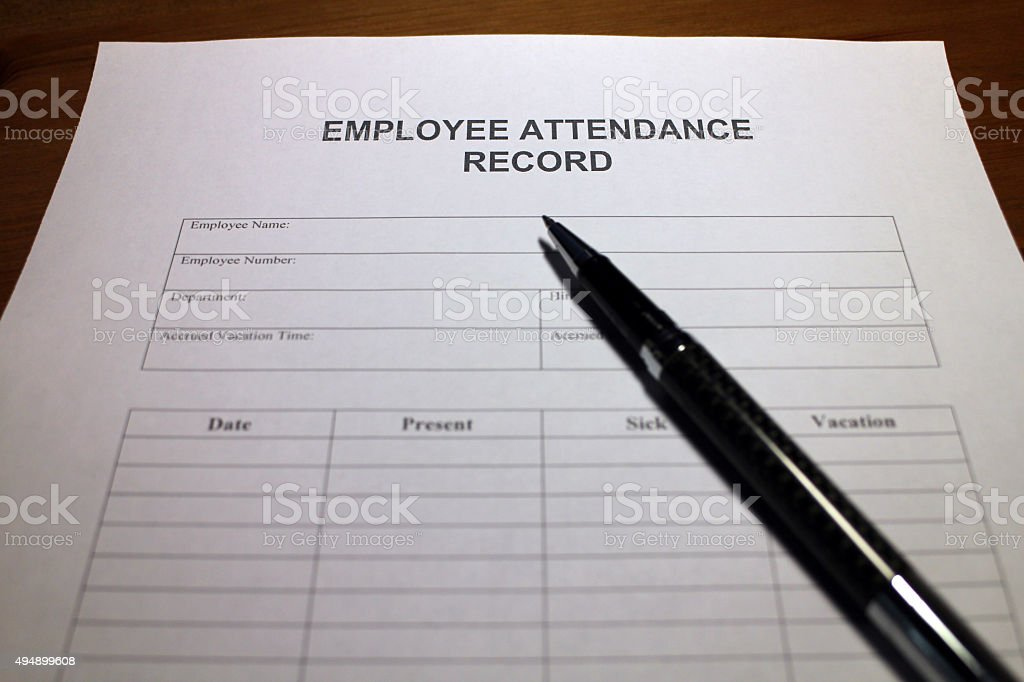 Employee Attendance Document stock photo