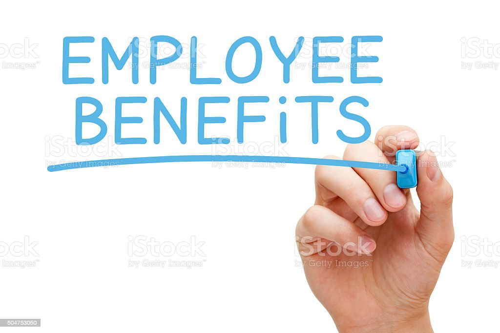 Employee Benefits Blue Marker stock photo