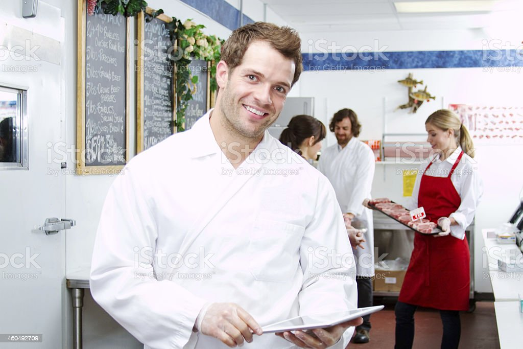 Employee checking inventory royalty-free stock photo