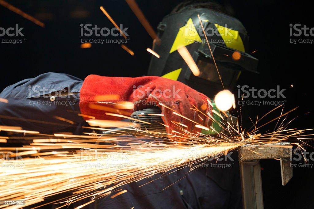 Employee Cutting Steel stock photo