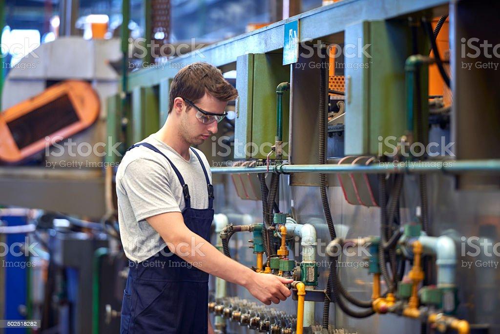 Employee doing work control stock photo