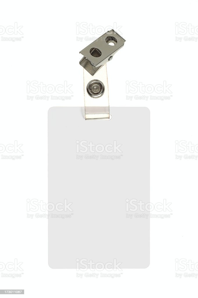Employee Identification Badge On White Background stock photo