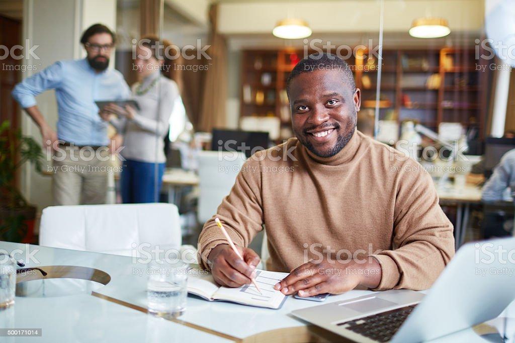 Employee in office stock photo