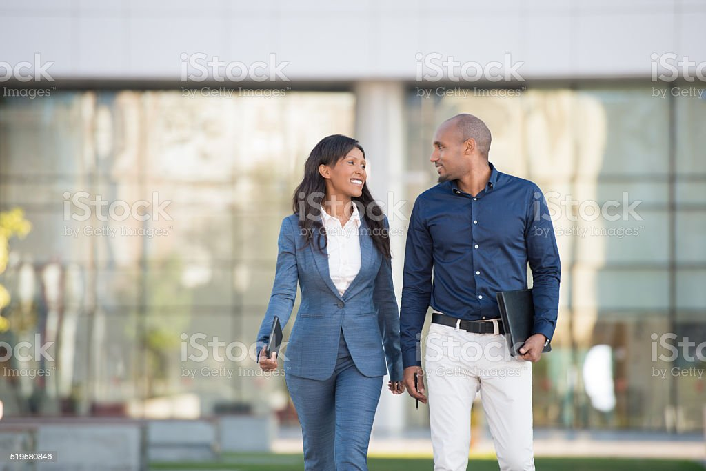Employee meeting outdoors. stock photo
