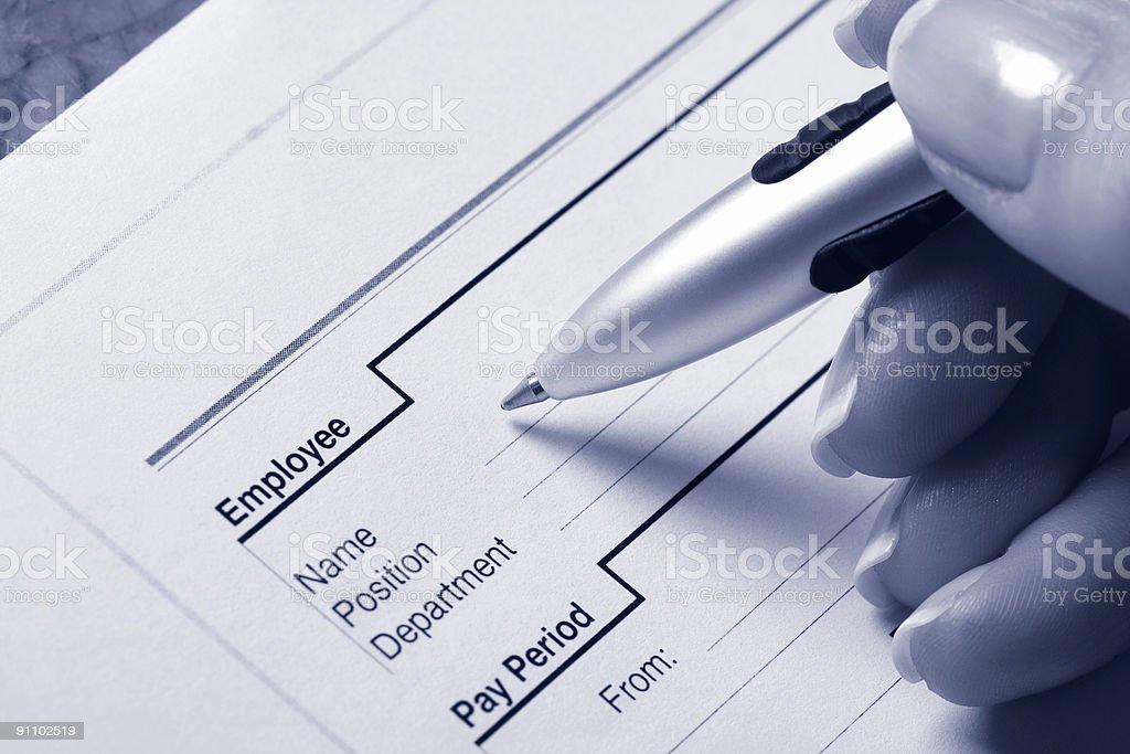 Employee pay sheet stock photo