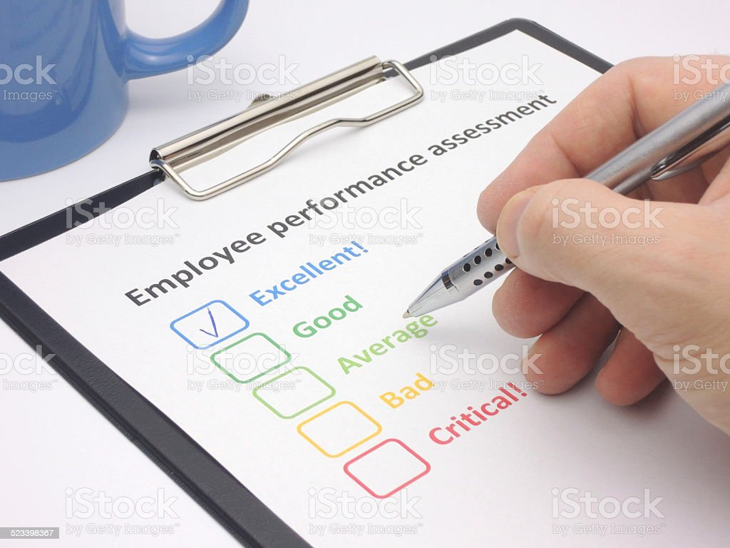 Employee performance assessment - excellent stock photo