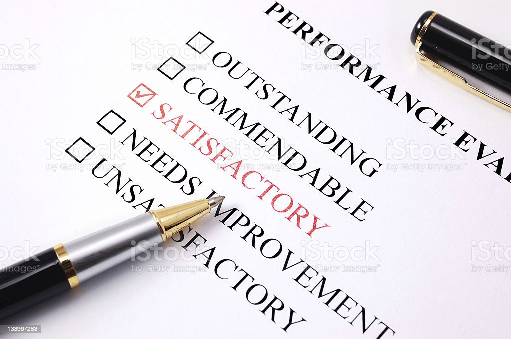 Employee Performance Assessment Satisfactory Stock Photo