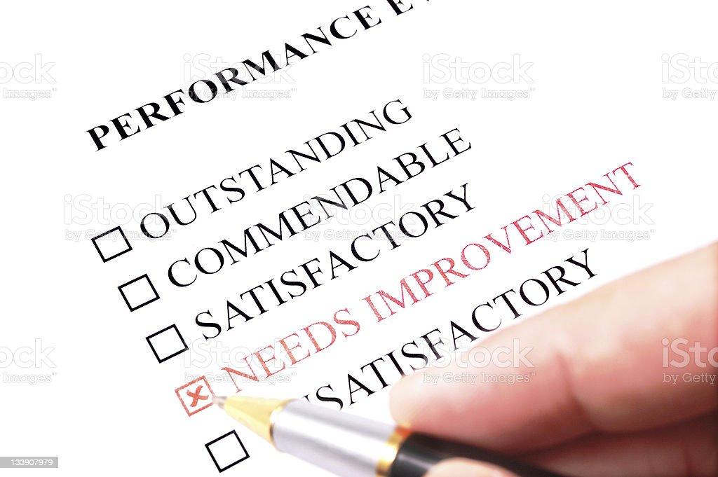 employee performance evaluation form - needs improvement royalty-free stock photo